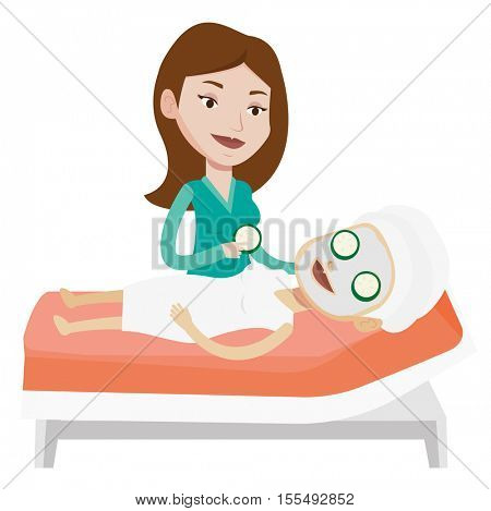 Cosmetologist applying face mask to a woman in beauty salon. Woman with face mask relaxing in beauty salon. Girl having beauty treatments. Vector flat design illustration isolated on white background.