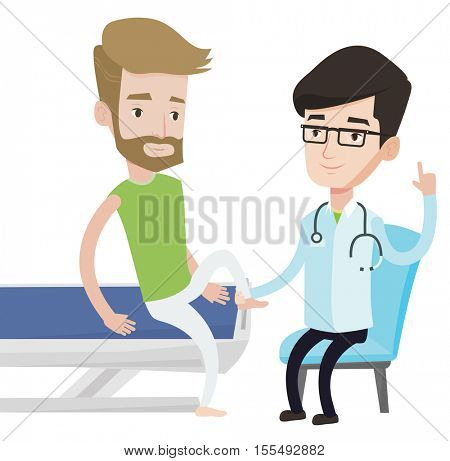 Physio therapist checking ankle of patient. Physio therapist examining leg of sportsman. Physio therapist giving a leg massage to patient. Vector flat design illustration isolated on white background.