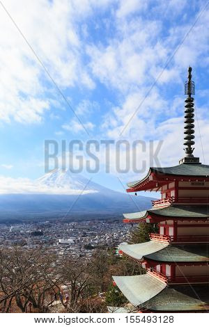 view of Fuji mountain and Shureito Pagoda in japan.