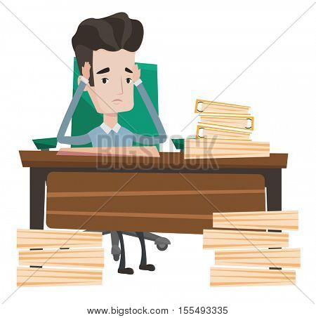 Stressed businessman with stacks of papers. Stressful businessman clutching his head. Stressed businessman having problem with deadline. Vector flat design illustration isolated on white background.