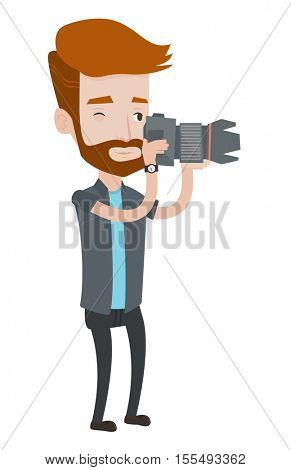A hipster photographer with the beard taking a photo. Young photographer taking a picture. Caucasian photographer with digital camera. Vector flat design illustration isolated on white background.