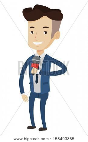 Cheerful caucasain reporter with microphone. Young smiling TV reporter in suit presenting the news. TV transmission with a reporter. Vector flat design illustration isolated on white background.