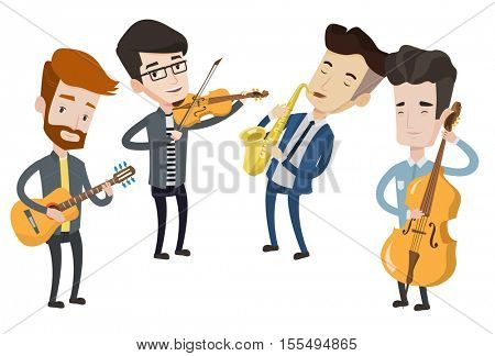 Band of musicians playing on musical instruments. Young musicians playing on instruments. Band of musicians performing with instruments. Vector flat design illustration isolated on white background.