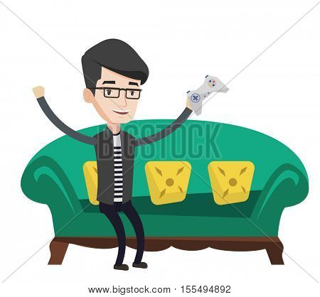 Happy gamer playing video game. An excited man with console in hands playing video game at home. Man celebrating his victory in video game. Vector flat design illustration isolated on white background