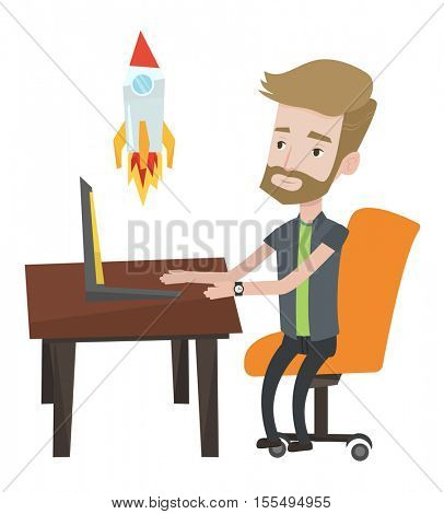 Hipster businessman with beard looking at business start up rocket. Businessman working on business start up. Business start up concept. Vector flat design illustration isolated on white background.