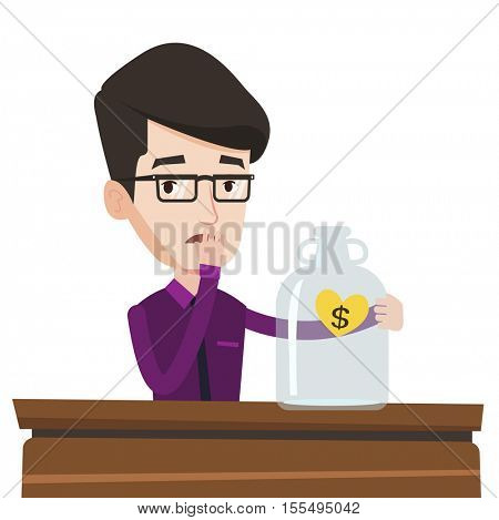 Worried bankrupt businessman looking at empty glass jar. Desperate bankrupt sitting at the table with empty money box. Bankruptcy concept. Vector flat design illustration isolated on white background.