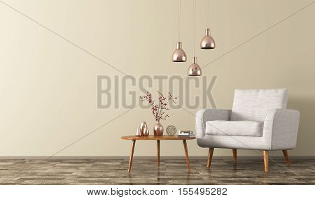 Interior Of Room With Armchair, Lamps And Coffee Table 3D Rendering