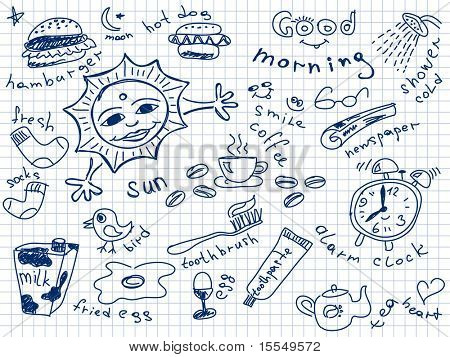 Set of morning doodles. Vector. Visit my portfolio for big collection of doodles