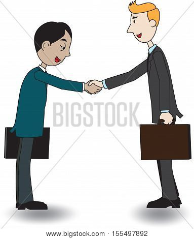 A cartoon illustration of a partnership and cooperation in business. Two happy businessmen shake hands.  one caucasoid and one asian, standing negotiating.