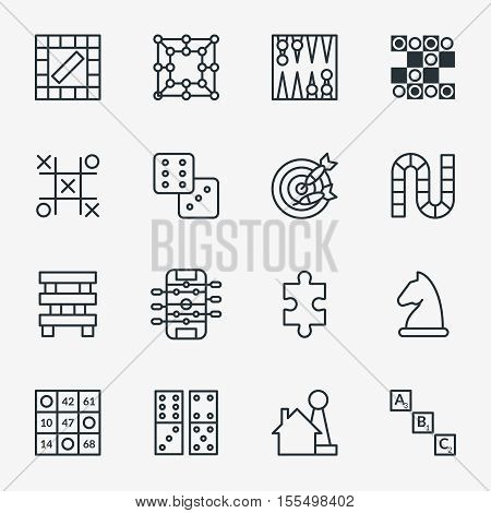 Board and party games outline icons vector. Set of board for game, illustration of chess and domino