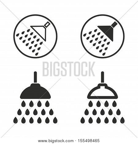 Shower vector icons set. Black illustration isolated on white background for graphic and web design.