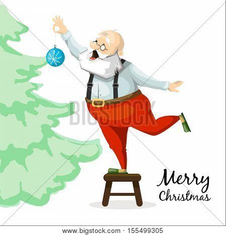 Santa Claus decorates a Christmas tree toy. Cartoon characters.