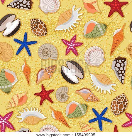 Marine beach sand background with sea shells seamless pattern. Vector illustration