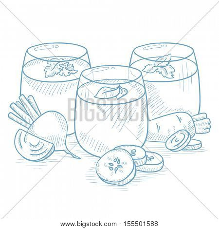 Freshly squeezed vegetable juices from cucumber, beet and carrot. Squeezed vegetable juices hand drawn on white background. Squeezed vegetable juices vector sketch illustration.