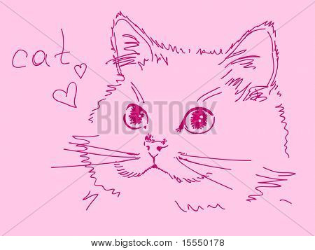 Hand drawn pink cat