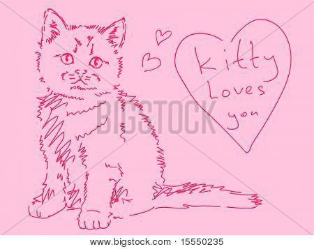Hand drawn kitty with love