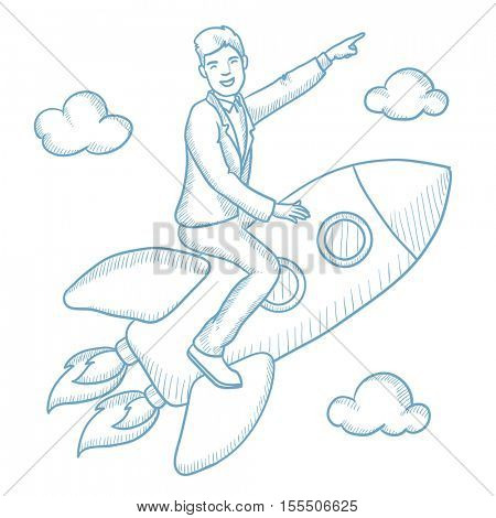Successful caucasian businessman flying on the business start up rocket and pointing his forefinger up. Successful business start up concept. Hand drawn vector sketch illustration on white background.