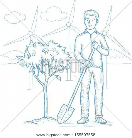 Caucasian man plants a tree. Young man standing with shovel near newly planted tree. Man planting tree on a background of wind power plant. Hand drawn vector sketch illustration on white background.