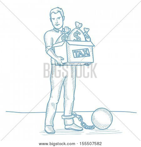 Chained to a large ball taxpayer carrying heavy box with bags full of taxes. Caucasian businessman taxpayer. Concept of tax time and taxpayer. Hand drawn vector sketch illustration on white background