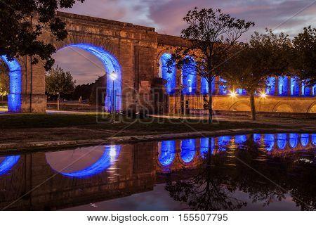 Saint Clement Aqueduct in Montpellier. Montpellier Occitanie France.