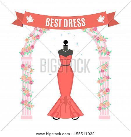 Red Evening Dress. Vintage dress on mannequin. Vector