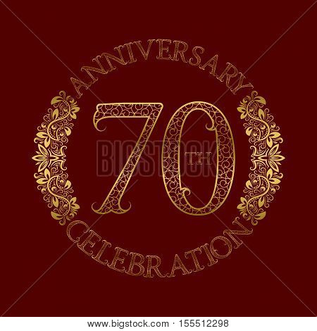 70th anniversary celebration vintage patterned logo symbol. Golden circular ornate emblem on red.