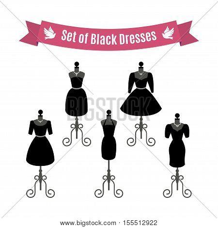 Set of Black Dresses. Vintage dresses on mannequins. Vector