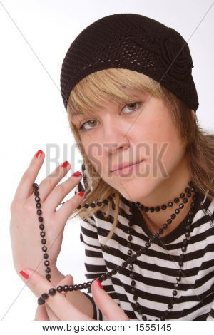 Girl In Black Knitted Hat
