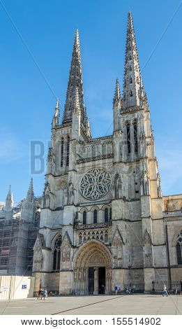 BORDEAUX,FRANCE - AUGUST 31,2016 - Cathedral of Saint Andre in Bordeaux. Bordeaux is the worlds major wine industry capital.