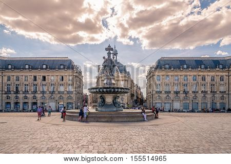 BORDEAUX,FRANCE - AUGUST 312016 - Place of Bourse with fountain Three Graces in Bordeaux. Bordeaux is the worlds major wine industry capital.