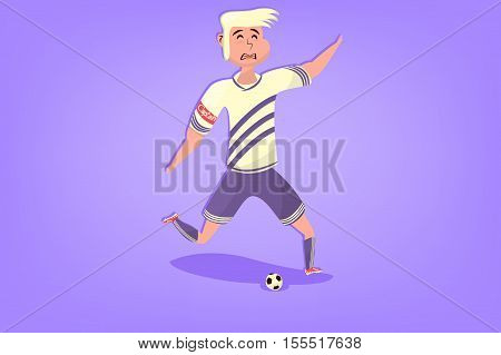 Comic soccer player with ball in flat. Cartoon picture