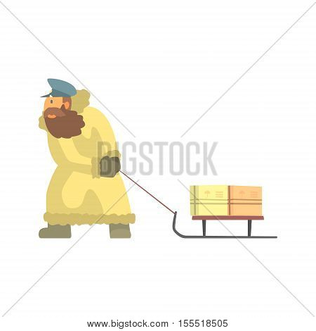 Nothern Postman In Fur Coat Dragging Sled With Mail. Graphic Design Cool Geometric Style Isolated Drawing On White Background