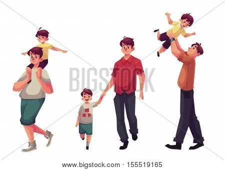 Father and son, set of cartoon vector illustrations isolated on white background. Dad carrying little son on shoulders, throwing him into air and walking together holding hands, happy family concept