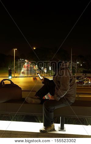 Terrorist vertical shot. Night shot. Long exposure