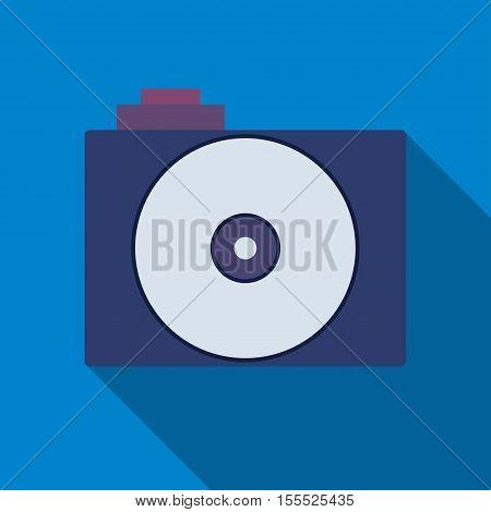 Camera icon. Professional photocamera symbol. Blue background with flat web icon. Vector