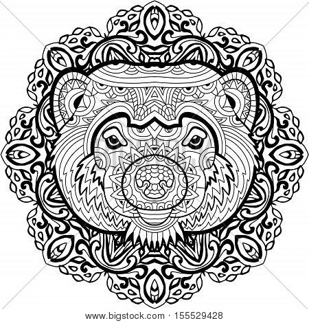 Painted the Wolverine on the background tribal mandala patterns. Element for your design. Cards, bags, coloring books for adults, t-shirts, tattoo. Line art design. Zendoodle. Coloring page for adults
