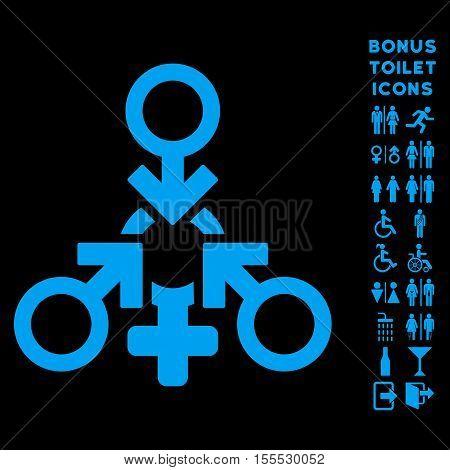 Triple Penetration Sex icon and bonus male and female WC symbols. Vector illustration style is flat iconic symbols, blue color, black background.