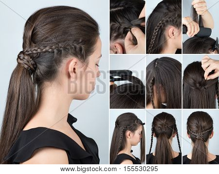 volume hairstyle ponytail with plait tutorial. Hairstyle for long hair. Hairstyle tutorial