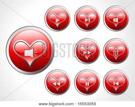 Nine Vector Hearts Glossy Button Set