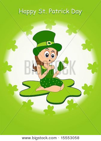vector cute Irish Girl for Saint Patrick's Day