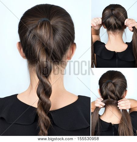 simple hairstyle twisted plait tutorial. Hairstyle for long hair. Hairstyle tutorial