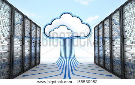 Modern server and connect cloud. 3d illustration
