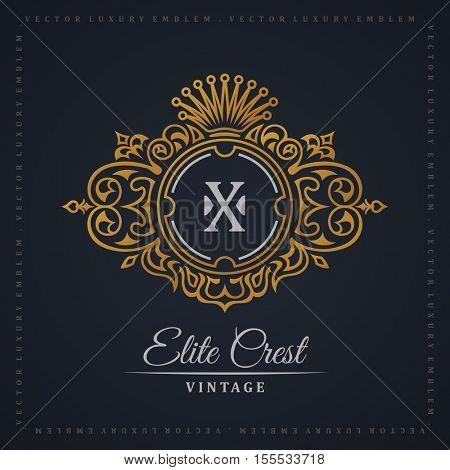 Vintage gold logo. Flourishes crest calligraphic ornament. Elegant emblem monogram luxury logo. Floral royal line logo design. Vector crest logo restaurant boutique, heraldic fashion, cafe hotel