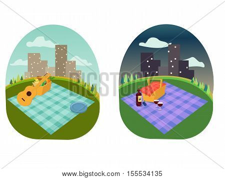 place for a family and romantic picnic in the park, spread out a blanket, a basket of food, summer vacation picnic in town city, day and night with star and moon