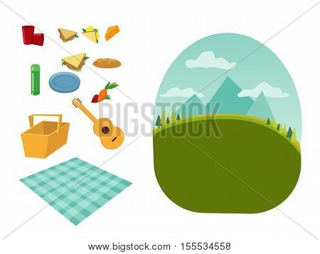 place for a family and romantic picnic in the park, spread out a blanket, a basket of food, summer vacation, picnic in town city, day and night with star and moon