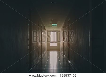 The Building Emergency Exit with Exit Sign