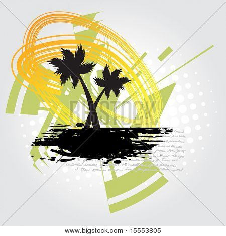 vector summer theme with tree and abstract background