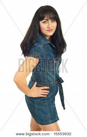 Beauty Model Woman In Denim Dress