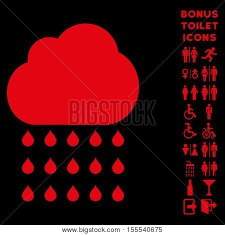 Rain Cloud icon and bonus male and female WC symbols. Vector illustration style is flat iconic symbols, red color, black background.
