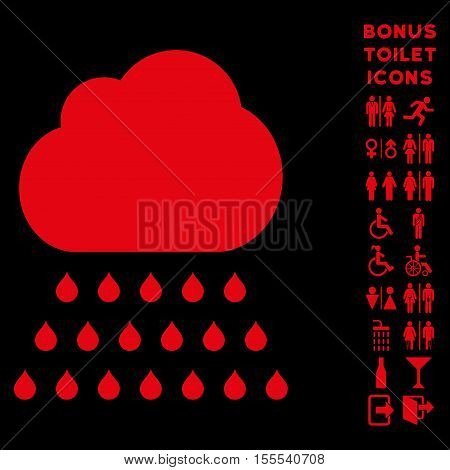 Rain Cloud icon and bonus man and woman toilet symbols. Vector illustration style is flat iconic symbols, red color, black background.